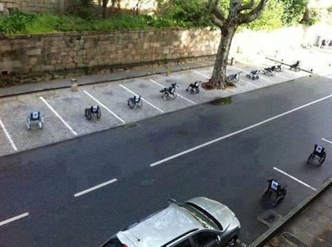 in a parking lot in Lisbon